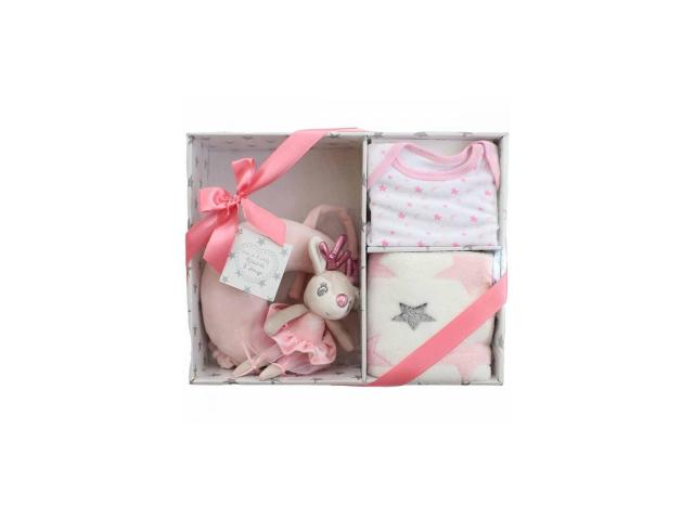 Set cadou 3 piese roz: jucarie muzicala patut, paturica plus, body 0-6 luni